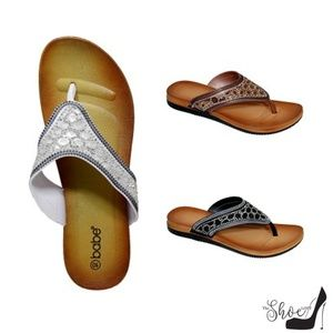 THE BABE COLLECTION Shoes - Dana Black Jeweled Thong Flip Flops